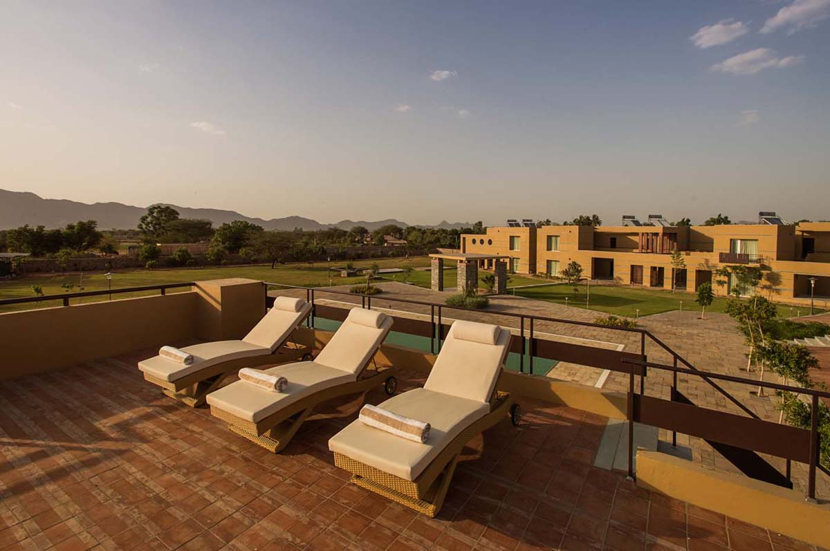 Relaxing near the pool side in Dera Masuda, Pushkar, Ajmer, Rajasthan
