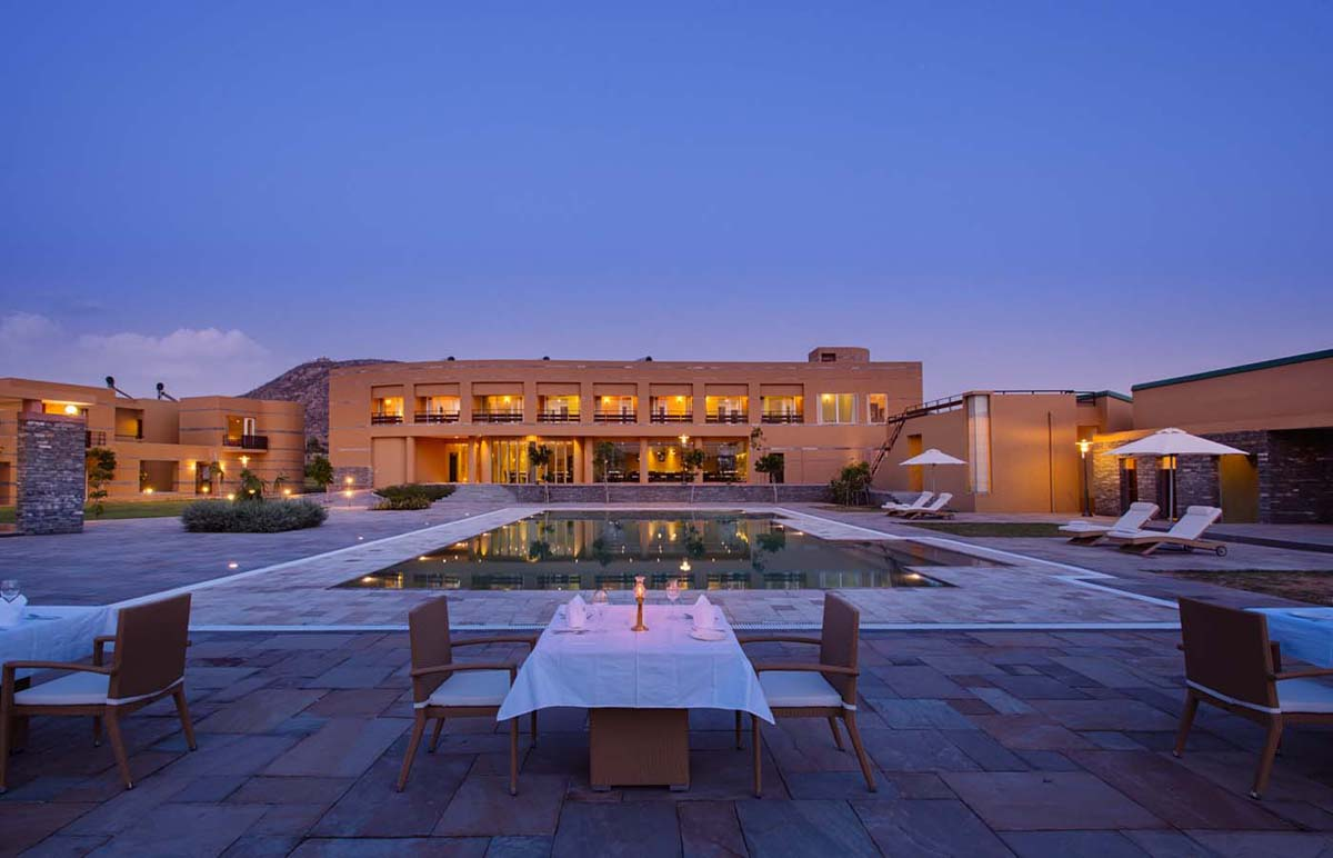 Poolside view of Dera masuda - The best luxury hotel resort in Pushkar, Ajmer, Rajasthan